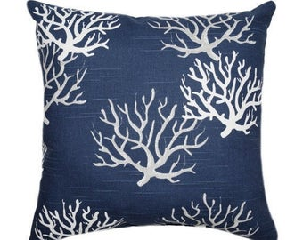 Navy Coral STUFFED Pillow, Beach Decor, Navy Grey White Throw Pillow, Ocean Theme, Decorative Beach Pillows Free Ship