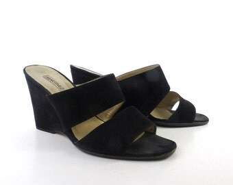 Martinez Valero Heels Vintage 1990s Black Suede Leather Wedges Women's size 38