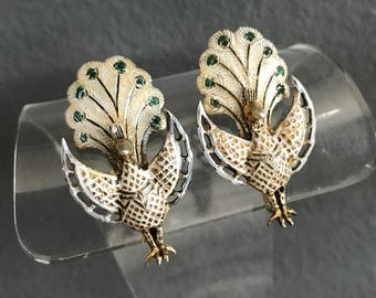 Vintage Articulated  Peacock Earrings  . Gold Gilt Silver . Enamel  . Oriental  Jewelry