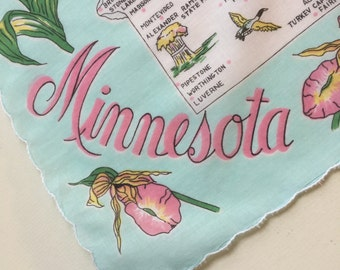 Vintage Minnesota Handkerchief with Blue Flowers