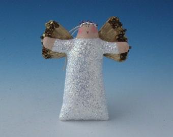 Angel Doll, Angel Ornament, White Sparkly Angel