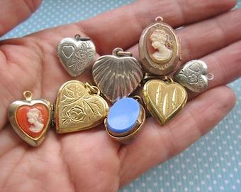 Vintage locket lot, Vintage heart shaped locket lot, Antique locket lot, Photo locket lot, Mourning locket lot, Antique