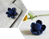 Lapel pin flower. Stick pin boutonniere. Men lapel flower. Glen plaid. Blue.  Textile lapel pin. Made in Italy
