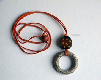 Long necklace - Pendant necklace -  Neutral, brown, orange - Ochre - Gift for woman.