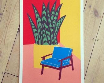 Blue Chair Print // Colourful Print // Mid Century Print // Botanical Print // Botanical Illustration