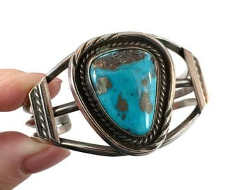 Turquoise Cuff, Sterling Silver, Vintage Bracelet, Big Stone, Heavy Silver, Turquoise Bracelet, Wide, Boho Statement, Vintage Jewelry