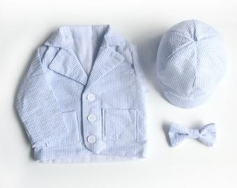 Baby Boy Blue Seersucker Blazer Set, Toddler Boy Blazer, Baby Blazer, Baby Boy Blazer, Boys Hat, Baby Boy Hat, Baby Jacket, Boys Jacket