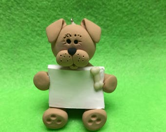 Polymer clay dog ornament