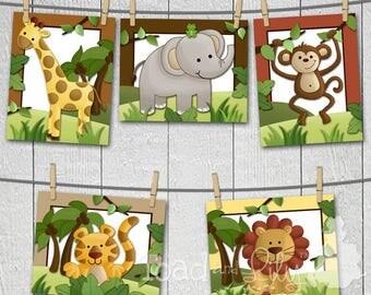 Set of 5 Jungle Friends Bedroom 8x10 Art Prints AP0016