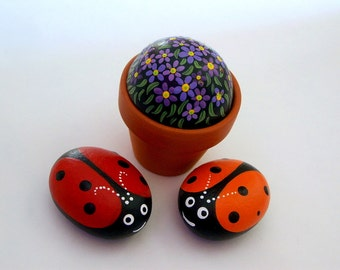Ladybugs-spring fairy garden terrarium-Mothers Day-Easter-lucky ladybird beetle-red orange-painted pet rocks-gift under 30-home office decor