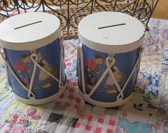 Two Matching Vintage Dutch Children Drum Banks