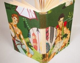 Journal, Notebook, Sketchbook or Guestbook, Unique and Hand-bound with Sexy Camping Dudes and Feathers