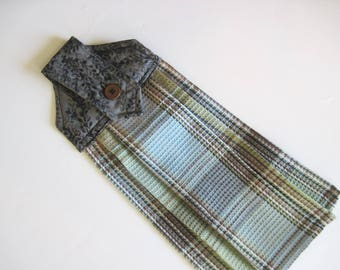 Hanging kitchen towel  button top Brown Blue Black madras plaid  II Quiltsy handmade