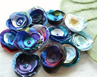 Fabric flowers, applique grab bag , handmade organza appliques, floral embellishments (12 pcs)- Grab Bag in Assorted Colors (mix set 350)