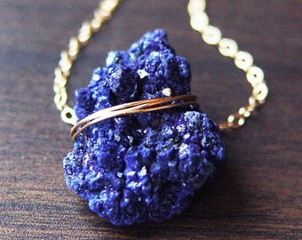 SALE Azurite Crystal Gold Necklace