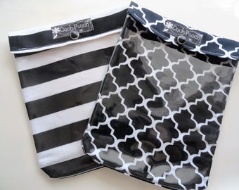 Black and White Stripes & Quatrefoil Ouch Pouch 2 Pk Clear Front Large 6x8 First Aid Kit JuJuBe Organizer Diaper Bag Baby Gift Under 20