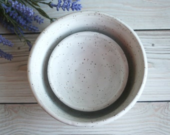 Pair of Rustic White Speckled Matte Glaze Ceramic Nesting Bowls Handmade Pottery Ready to Ship Made in USA