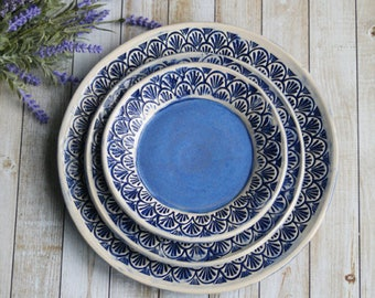 Modern Rustic Blue and White Dinnerware Place Setting Handmade Ceramic Stoneware Three Piece Rustic Dishes Made in USA Ready to Ship