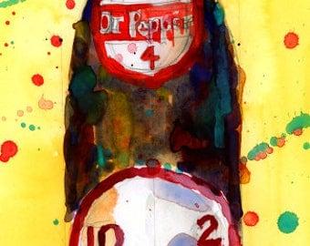 Dr Pepper Soda - Vintage - Art Print from Original Watercolor - Kitchen Bar