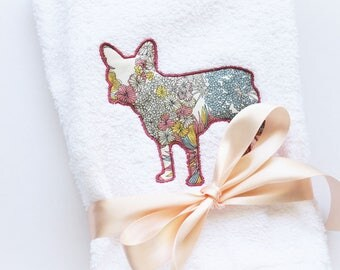 French Bulldog Hand Towels, Monogrammed Hand Towel, Monogrammed Towel, Personalized Towel, Liberty of London fabric