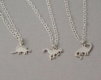 Tiny little dinosaur charm necklace / T-Rex / Brontosaurus / Stegosaurus / Dinosaur necklace