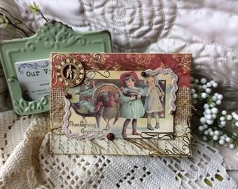 Thanksgiving Card - Fall Season Card - Vintage-style Thanksgiving Card - Autumn Card