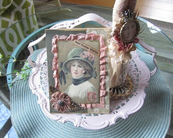 Handmade Easter Card - Victorian Lady Easter Card