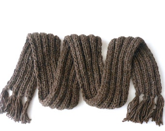Cocoa Luxurious Alpaca Fringed Scarf 9'