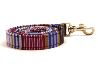 Purple striped dog leash - Violet striped pet lead - Blue striped dog leash - Purple Haze dog leash