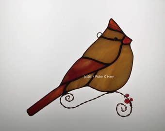 Female Cardinal Stained Glass Sun Catcher