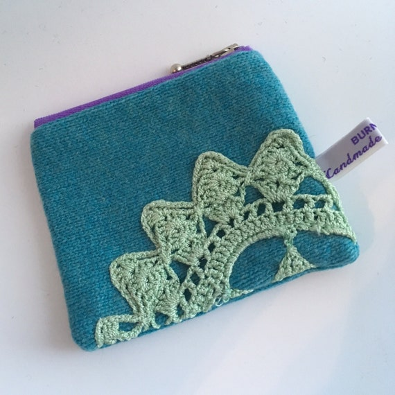 Blue wool jumper coin purse