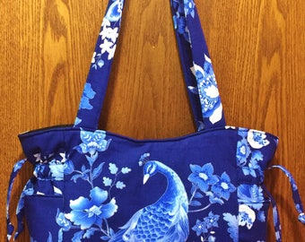 Peacock Blue White Silver - Handbag, Purse, Tote, Shoulder Bag, Outside Pockets