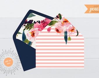 Pink Floral and Stripe Envelope Liner | printable | instant download | watercolor flowers | peonies