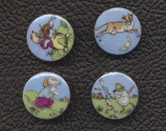 A Set of Four Lois Calkin Nursery Rhyme Ceramic Buttons - Hey Diddle Diddle - 1 Inch Diameter