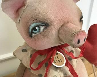 EPATTERN - Otis Oink - Primitive Folk art Doll Epattern