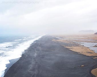 Black Sand Beach, Iceland Photography, Vik Iceland, Landscape Photography, Beach Photography, Ocean Photograph, Coastal, Dramatic Scenic