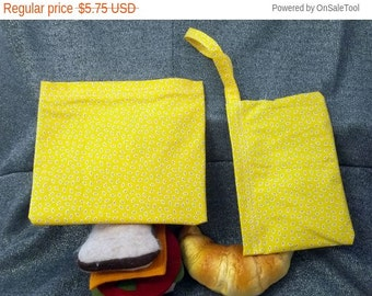 Sale 15% off Reusable Sandwich N Snack Bag Set,  Bugs on Yellow Print