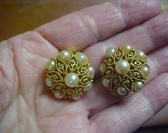 Pair of Clip on ear rings with faux pearls