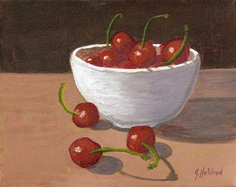 Holdren Art Impressionist Realism Still Life Cherries Bowl Acrylic Painting ACEO ATC Home Decor Print
