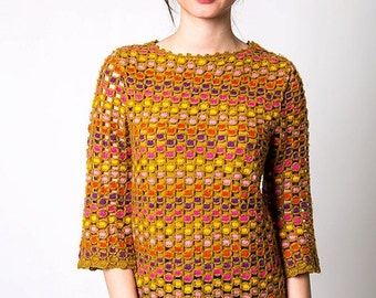 30% off SPRING SALE The Vintage Colorblocked Polka Dot Knit Sweater