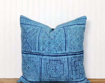 Blue Hmong Pillow - Vintage Tribal Hmong - Bohemian -Hemp - Decorative Pillow - 20x20 - Handprinted Batik - Boho Chic - Ethnic Pillow Cover