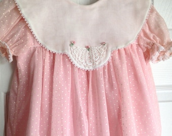 Pink Dotted Swiss Girls Dress White Lace Collar Size 6X 1980s Jayne Copeland