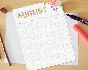 August Calendar, Printable calendar, Reusable printable calendar, perpetual, any year, printable DIY, letter size, 8.5 x 11