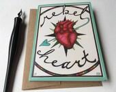 Rebel Heart Cards, folded greeting cards & envelopes, blank inside, original art cards