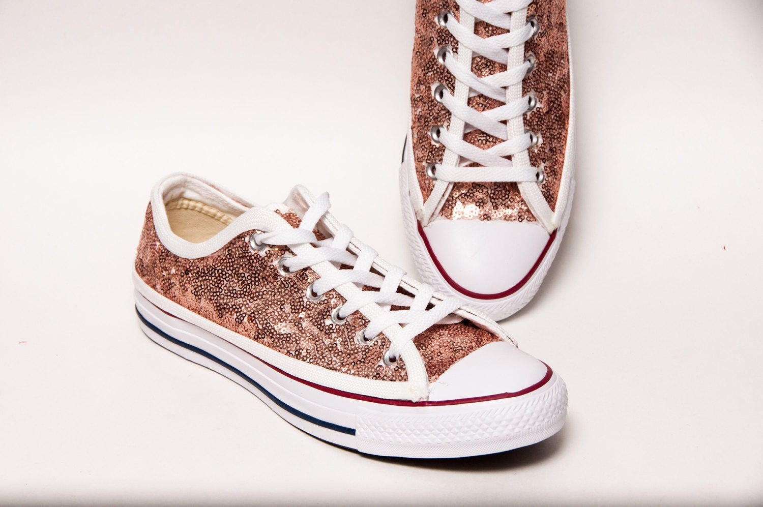 sequin rose gold canvas custom converse canvas low top. Black Bedroom Furniture Sets. Home Design Ideas