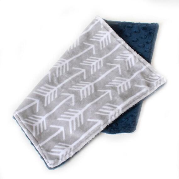 Silver GRAY Arrow Burp Cloths, Navy Blue Gray- set of 2 Minky // Ready to ship // Baby Shower Gift // Minky Burp Cloth // New Baby Gift