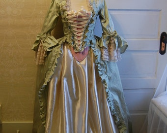 Green silk dress pink corset and cream satin skirt Marie Antoinette Victorian inspired rococo costume dress