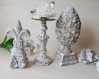 Hand Painted Patina Stone Instant Vignette Home Decor 3 Piece Set