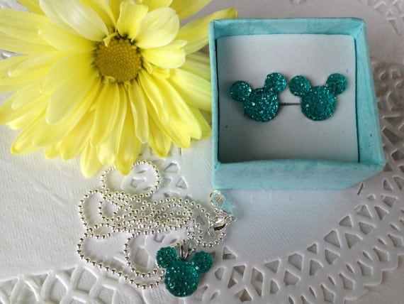 MOUSE EARS Necklace and Earrings Set for Themed Wedding Party in Dazzling Bright AquaAcrylic
