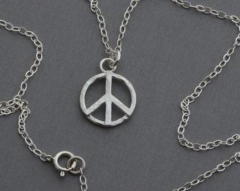 Peace sign symbol necklace sterling silver solidarity pendant hippie boho layering modern minimalist simple .925 artisan handmade jewelry